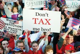 미국에서는 지금 세금 전쟁이 벌어지고 있다. 애틀랜타에서 열린 '티파티'에서 '내게 세금을 부과하지 말라'는 표지를 들고 있는 참석자.
