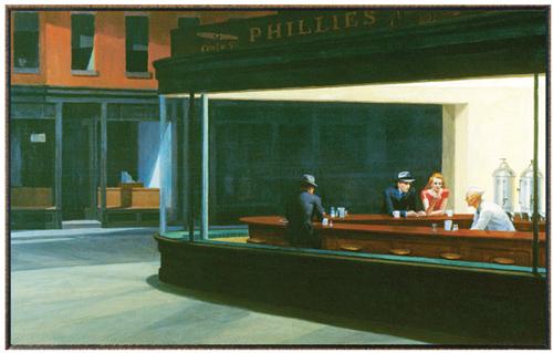 에드워드 호퍼와 에드워드 버라는 현대 도시인들의 일상을 그림에 담아 그들의 고독과 허무한 욕망을 표현했다.