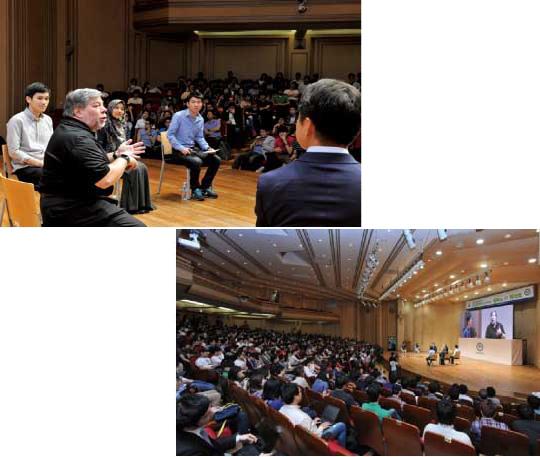 5월 31일 열린 한양대 '캠퍼스 IT 콘서트'에서 워즈니악은 무대에 올라 학생 패널들과 다양한 주제로 대화를 나눴다.