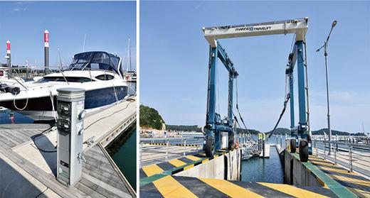왕산마리나에 설치된 전기·급수 시설 및 배를 들어올리는 크래인 장비