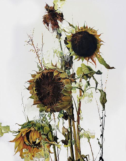 김남표, Instant Landscape–Sunflower#5, 캔버스에 파스텔&유채, 116.8×91cm, 2019