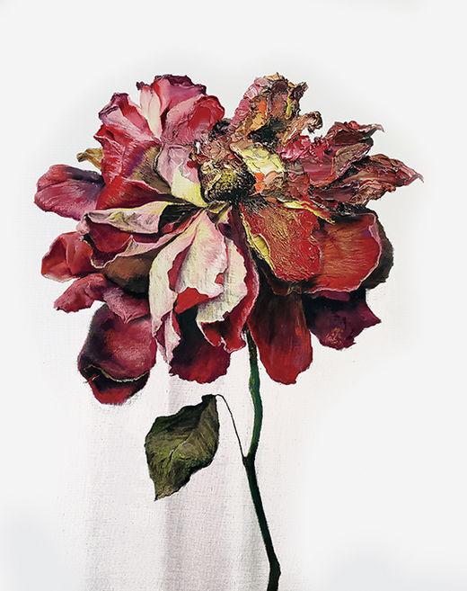 김남표, Instant Landscape–Fingertip flower#1, 캔버스에 파스텔, 90.9×72.7cm, 2019