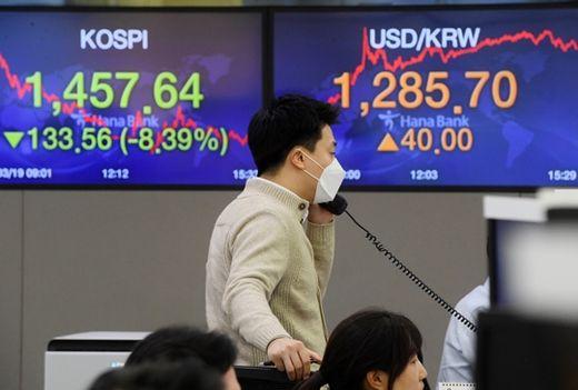 (사진) 코스피 지수가 급락하고 원·달러 환율이 급등한 3월 19일 서울 명동 하나은행 딜링룸에서 딜러들이 거래를 하고 있다. /한국경제신문