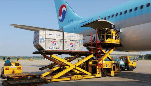 대한항공 화물 조업 직원들이 지난 3월 인천국제공항에서 베트남 호찌민으로 가는 A330-300 여객기 화물칸에 전자제품과 농산물 등을 싣고 있다.(/대한항공)