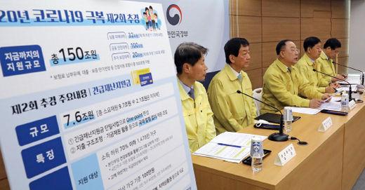 4월 16일 열린 정부의 2차 추가경정예산안 관련 통합 브리핑 모습.