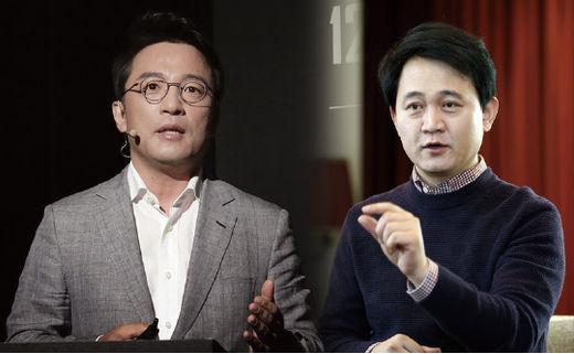 김택진(왼쪽) 엔씨소프트 대표와 방준혁 넷마블 의장. /한국경제신문