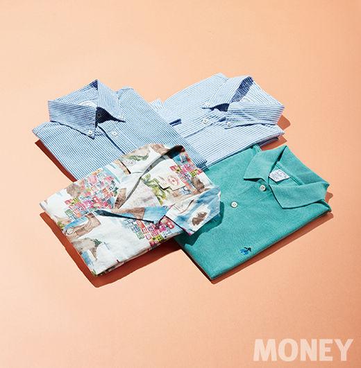 왼쪽부터 시계방향_브룩스 브라더스 블루 체크 시어서커 셔츠, 스트라이프 시어서커 셔츠, 퍼포먼스 폴로셔츠, 레드플리스 코스탈 프린트 반팔 셔츠