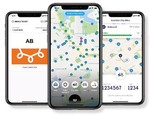핀란드의 '윔'은 대중교통을 통합 시스템으로 서비스한다.윔 홈페이지