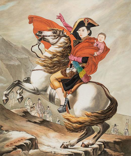 결혼:육아전쟁, 한지위에 수묵과 담채 & 콜라쥬, 1135×113cm, 2019년