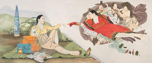 결혼: 천지차이, 한지 위에 수묵과 담채 & 콜라주, 199×428cm, 2019년