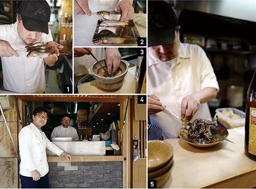 1 수박향이 난다는 은어를 굽기 전에 재차 선도를 확인한다. 2 한창 제철인 은어, 구이로 완성된 요리가 헤엄치는 모습을 닮도록 역동적인 프레이팅을 위해 꼬치에 끼워 굽는다. 3 정성을 다해 준비하는 솥밥 4 문동택 셰프와 필자 5 플레이팅하는 모습