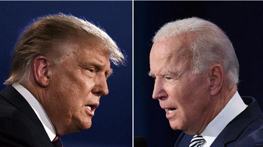 도널드 트럼프(왼쪽) 미국 대통령과 조 바이든 민주당 대선 후보가 9월 29일 오하이오 주 클리블랜드에서 대선 후보 첫 TV 토론을 벌였다./AFP 연합뉴스
