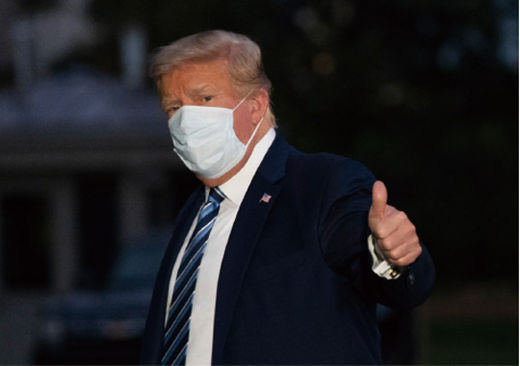 도널드트럼프 미국 대통령이 10월 5일 코로나19 치료를 받고 퇴원했다./연합뉴스