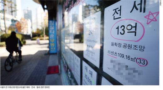 서울의 한 부동산중개업소에 붙은 매매·전세·월세 관련 정보란./연합뉴스